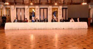Los miembros del Consejo Nacional de la Magistratura mientras anunciaban los nuevos jueces. (FRANCISCO ARIAS )