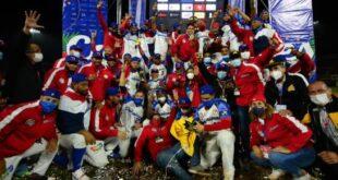 Jugadores de las Águilas Cibaeñas que representaron el país en la versión 63 de la Serie del Caribe, coronandose campeonas invictas. Ganaron los siete partidos que jugarón. (DL/Aneudy Tavarez)