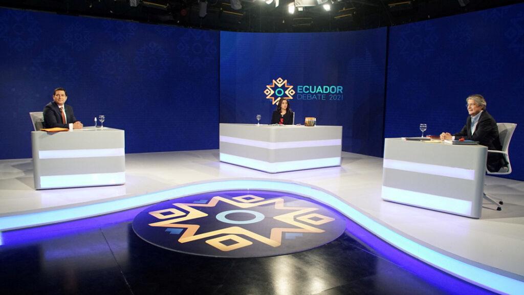 Andrés Arauz y Guillermo Lasso en un debate televisado, Ecuador, 21 de marzo de 2021